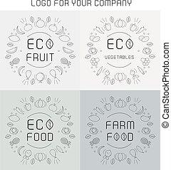 etiketten, set, organisch