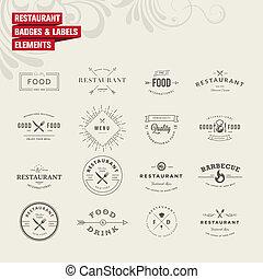 etiketten, set, restaurant
