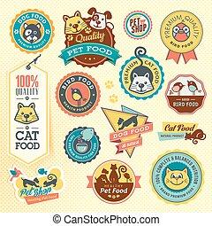 etiketten, set, stickers, dier