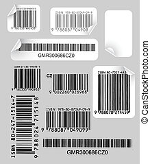 etiketten, set, streepjescodes