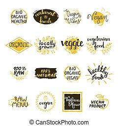 etiketten, set, vegan