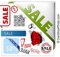etiketten, set, verkoop, kleurrijke