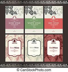 etiketten, set, wijntje