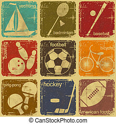 etiketten, sportende, retro