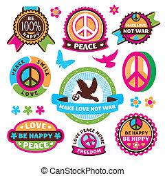 etiketten, symbolen, set, vrede