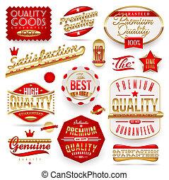 etiketten, vector, kwaliteit, guaranteed, &