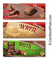 etiketten, verpakking, verzameling, chocolade, vector, horizontaal