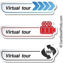 etiketten, -, virtuell, tour, vektor, aufkleber