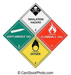 etiketten, waarschuwend, gassen