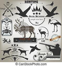 etiketten, weinlese, satz, hunting.