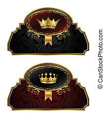 etiketter, årgång, sätta, krona, guld