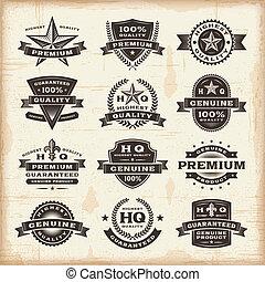 etiketter, årgång, sätta, premie, kvalitet