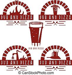 etiketter, årgång, sätta, pub, pizza