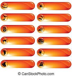 etiketter, apelsin, sätta, 12, halloween