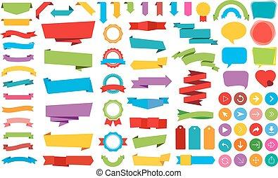etiketter, baner, vektor, klistermärken, band