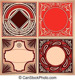 etiketter, brun, sätta, röd, årgång