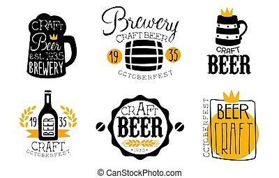 etiketter, bryggeri, sätta, retro, designmallar, oktoberfest, oavgjord, illustration, hantverk, öl, hand, vektor