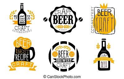 etiketter, bryggeri, sätta, retro, designmallar, oktoberfest, oavgjord, illustration, hantverk, öl, hand, vektor, recept, bäst