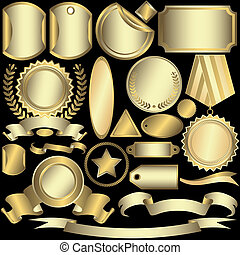 etiketter, gyllene, sätta, (vector), silverren