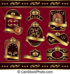 etiketter, kunglig, guld