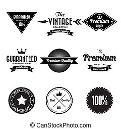 etiketter, märken, sätta, retro, årgång
