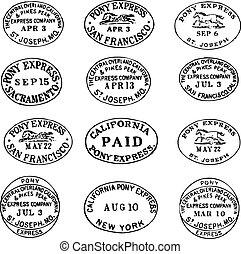 etiketter, pony, clipart, ekspres, frimærker, vektor