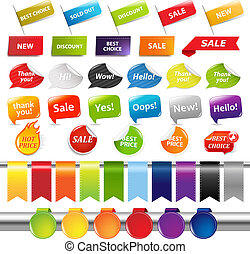 etiketter, sätta, klistermärken, försäljning