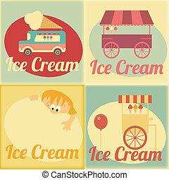 etiketter, sätta, retro, glass