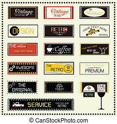 etiketter, sätta, retro