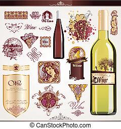 etiketter, sätta, vin