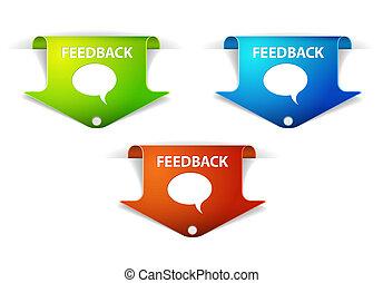 etiketter, vektor, klistermärken, feedback, /, pil