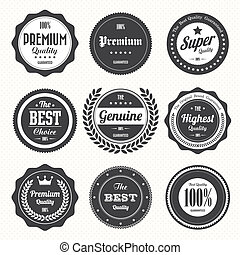 etiketter, vinhøst, sæt, retro, emblemer