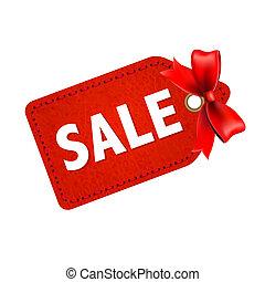 etikettieren verkauf, geschenkband, rotes