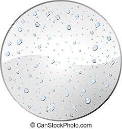 etiqueta, água, orvalho, em branco, branca, gotas, template., redondo