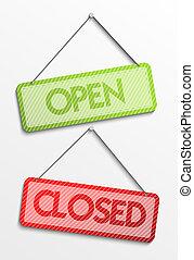 etiqueta, abierto, cerrado