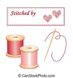 etiqueta, aguja, hilos, costura