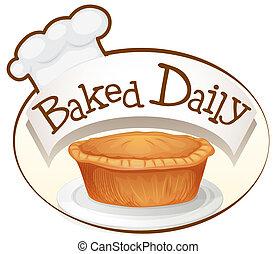 etiqueta, assado, diariamente, cupcake