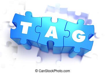 etiqueta, -, blanco, palabra, en, azul, puzzles.