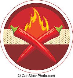 etiqueta, círculo, peppers., pimentão, quentes