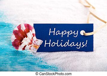 etiqueta, com, feliz, feriados