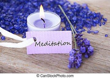 etiqueta, com, meditação, ligado, aquilo