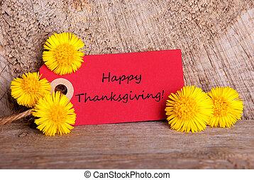 etiqueta, con, feliz, acción de gracias
