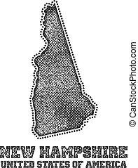 etiqueta, con, mapa, de, nuevo, hampshire.