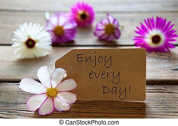 etiqueta, con, vida, cita, gozar, cada día, con, cosmea, flores