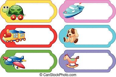 etiqueta, desenho, com, diferente, brinquedos