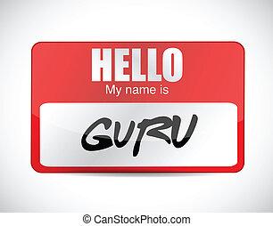 etiqueta, diseño, nombre, ilustración, gurú
