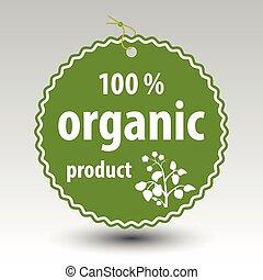 etiqueta, etiqueta, papel, %, vector, orgánico, precio, verde, producto, 100