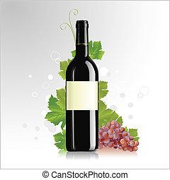 etiqueta, garrafa vinho, em branco