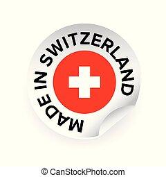 etiqueta, hecho, etiqueta, suiza
