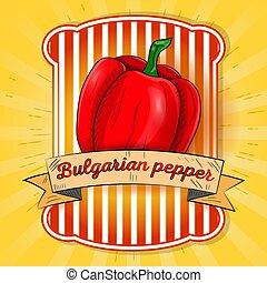 etiqueta, ilustração, pimenta doce, sino